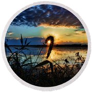 Sunset Over The Refuge Round Beach Towel