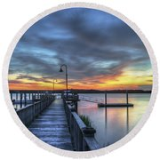 Sunset Over The River Round Beach Towel