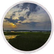 Sunset Over The Wando Round Beach Towel