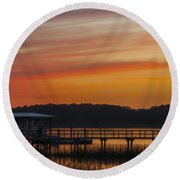 Sunset Over The Wando River Round Beach Towel by Dale Powell