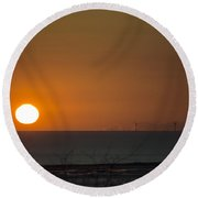 Sunset Over The Windfarm Round Beach Towel