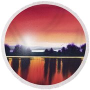 Sunset Over Two Lakes Round Beach Towel