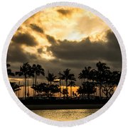 Sunset Over Waikiki Round Beach Towel