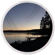 Sunset Over Yellowstone Lake Round Beach Towel