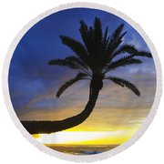 Sunset Palm Round Beach Towel