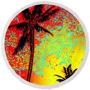 Round Beach Towel featuring the photograph Sunset Palms by David Lawson