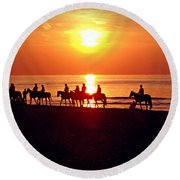 Sunset Past Time Round Beach Towel