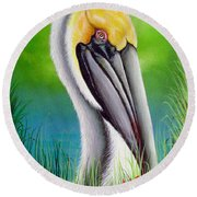 Sunset Pelican Round Beach Towel