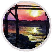Sunset Pier Round Beach Towel by Lil Taylor