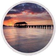 Sunset Pier Round Beach Towel