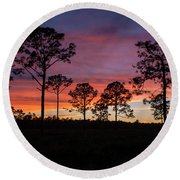Round Beach Towel featuring the photograph Sunset Pines by Paul Rebmann