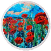 Round Beach Towel featuring the painting Sunset Poppies by Ana Maria Edulescu