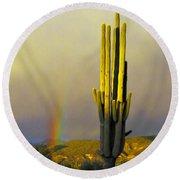 Sunset Rainbow Cactus Round Beach Towel by John Haldane