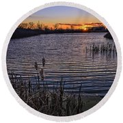 Sunset, Reeds, River.... Round Beach Towel