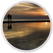 Sunset Reflection And Silhouettes Round Beach Towel