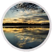 Round Beach Towel featuring the photograph Sunset Reflection by Yulia Kazansky