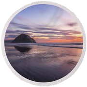 Sunset Reflections At Morro Bay Beach Rock Fine Art Photography Print Round Beach Towel