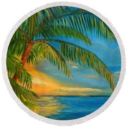 Sunset Reflections - Key West Sunset And Palm Trees Round Beach Towel