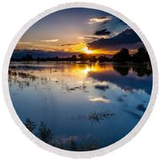 Round Beach Towel featuring the photograph Sunset Reflections by Steven Reed