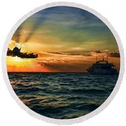 Sunset Regatta  Round Beach Towel