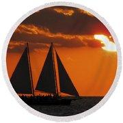 Key West Sunset Sail 3 Round Beach Towel