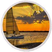 Sunset Sail Round Beach Towel
