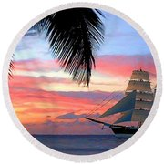 Sunset Sailboat Filtered Round Beach Towel