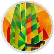 Round Beach Towel featuring the painting Sunset Sails And Shadows by Tracey Harrington-Simpson