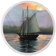 Sunset Sails Round Beach Towel by Eileen Patten Oliver