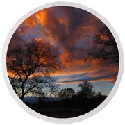 Sunset September 24 2013 Round Beach Towel