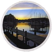 Round Beach Towel featuring the photograph Sunset Silhouette by Brian Wallace