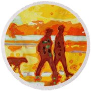 Round Beach Towel featuring the painting Sunset Silhouette Carmel Beach With Dog by Thomas Bertram POOLE