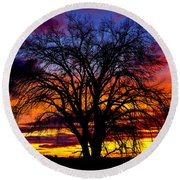 Sunset Silhouette Round Beach Towel by Greg Norrell
