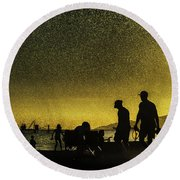 Round Beach Towel featuring the photograph Sunset Silhouette Of People At The Beach by Peter v Quenter
