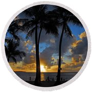 Sunset Silhouettes Round Beach Towel by Lynn Bauer