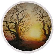 Round Beach Towel featuring the painting Sunset by Sorin Apostolescu