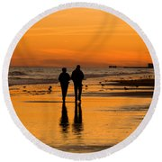 Sunset Stroll Round Beach Towel