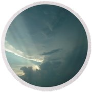 Round Beach Towel featuring the photograph Sunset Supercell by Ed Sweeney