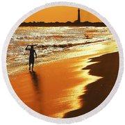 Sunset Surfer Round Beach Towel