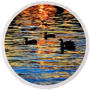 Sunset Swim Round Beach Towel