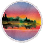 Round Beach Towel featuring the painting Sunset by Teresa Ascone