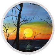 Sunset Through The Branches Round Beach Towel