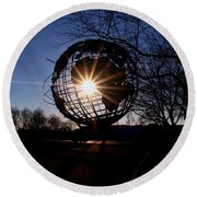 Sunset Through The Unisphere Round Beach Towel