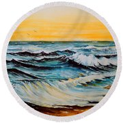 Sunset Tide Round Beach Towel