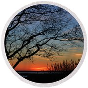 Sunset Tree In Ocean City Md Round Beach Towel
