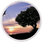 Sunset Tree Of Tranquility Round Beach Towel