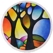 Sunset Trees Round Beach Towel