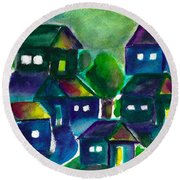 Round Beach Towel featuring the painting Sunset Village Watercolor by Frank Bright