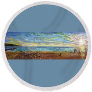 Sunset Volleyball At Old Silver Beach Round Beach Towel