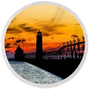 Sunset Walking On Grand Haven Pier Round Beach Towel